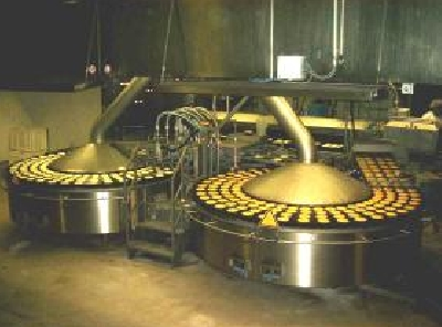Double circular frying machine